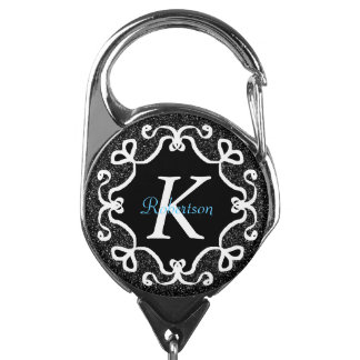 Black and White geometric shape monogram Badge Holder