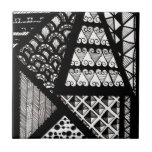 Black and white geometric small square tile