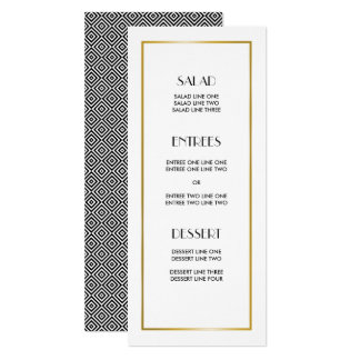 Black and White Geometric Squares Wedding Card