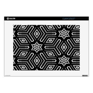 "Black and White Geometric Star Pattern 15"" Laptop Skin"