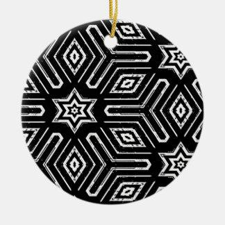 Black and White Geometric Star Pattern Ceramic Ornament