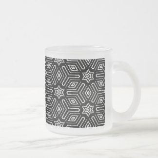 Black and White Geometric Star Pattern Frosted Glass Coffee Mug