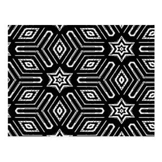 Black and White Geometric Star Pattern Postcard