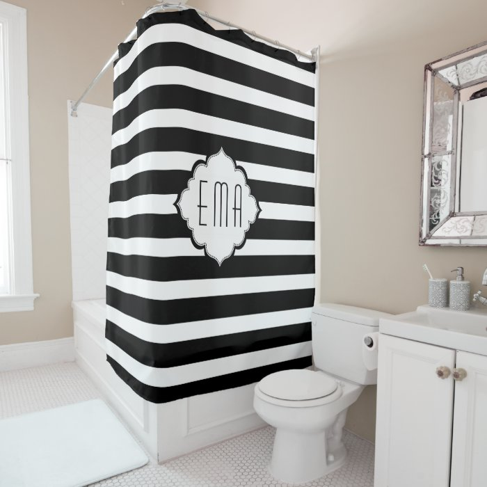 Black And White Geometric Stripes Shower Curtain Zazzle