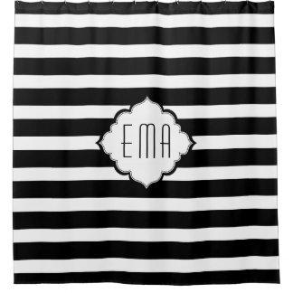 Black And White Geometric Stripes Shower Curtain