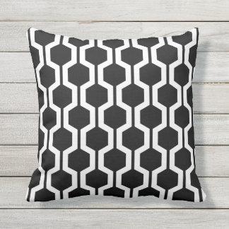 Black and White Geometric Trellis Outdoor Pillows