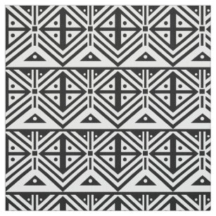 Black And White Geometric Tribal Pattern Fabric