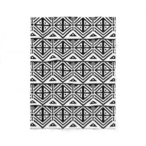 Black and White Geometric Tribal Pattern Fleece Blanket