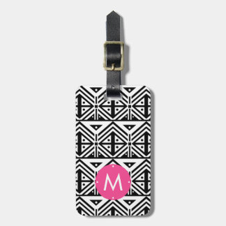 Black and White Geometric Tribal Pattern Monogram Luggage Tag