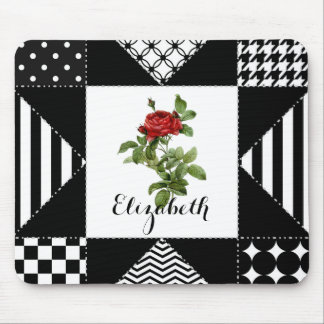 Black and White Geometric With Red Rose and Name Mouse Pad