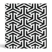 black and white geometrical modern pattern 3 ring binder