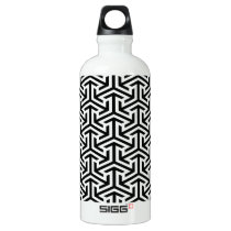 black and white geometrical modern pattern aluminum water bottle