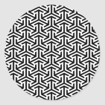 black and white geometrical modern pattern classic round sticker