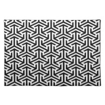 black and white geometrical modern pattern cloth placemat
