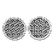 black and white geometrical modern pattern cufflinks