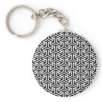 black and white geometrical modern pattern keychain