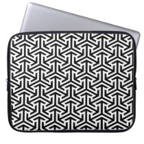 black and white geometrical modern pattern laptop sleeve