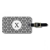 black and white geometrical modern pattern luggage tag