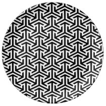black and white geometrical modern pattern plate