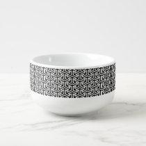 black and white geometrical modern pattern soup mug