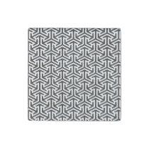 black and white geometrical modern pattern stone magnet