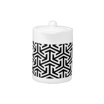 black and white geometrical modern pattern teapot
