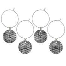 black and white geometrical modern pattern wine glass charm