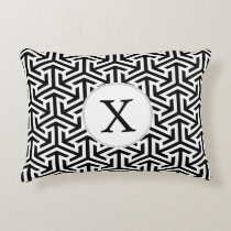 black and white geometrical pattern accent pillow