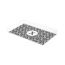 black and white geometrical pattern acrylic tray