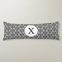 black and white geometrical pattern body pillow
