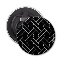 black and white geometrical pattern bottle opener