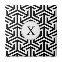 black and white geometrical pattern ceramic tile