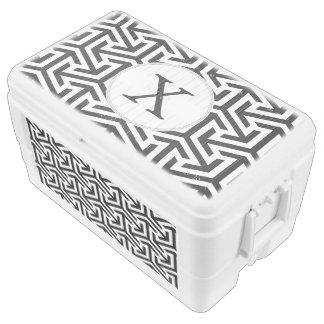black and white geometrical pattern chest cooler