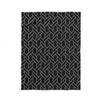 black and white geometrical pattern fleece blanket