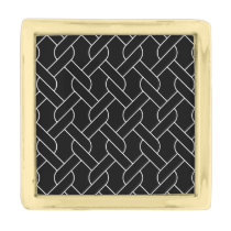 black and white geometrical pattern gold finish lapel pin