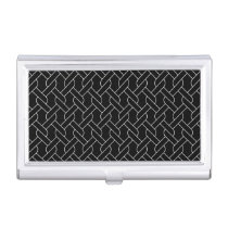 black and white geometrical pattern modern print case for business cards