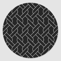 black and white geometrical pattern modern print classic round sticker