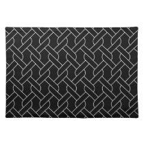 black and white geometrical pattern modern print cloth placemat