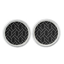 black and white geometrical pattern modern print cufflinks