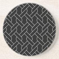 black and white geometrical pattern modern print drink coaster