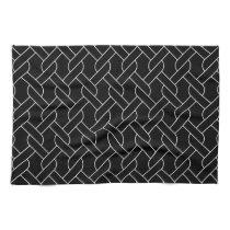 black and white geometrical pattern modern print hand towels