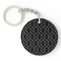 black and white geometrical pattern modern print keychain