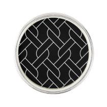 black and white geometrical pattern modern print lapel pin