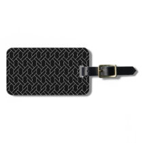 black and white geometrical pattern modern print luggage tag