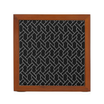 black and white geometrical pattern modern print pencil holder