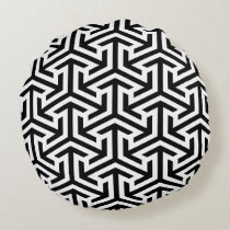 black and white geometrical pattern modern print round pillow