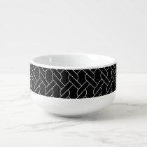 black and white geometrical pattern modern print soup mug