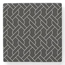 black and white geometrical pattern modern print stone coaster