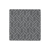 black and white geometrical pattern modern print stone magnet