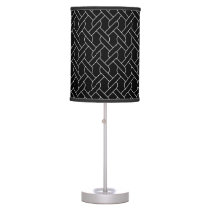 black and white geometrical pattern modern print table lamp